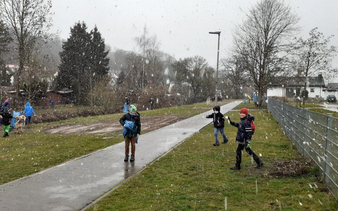Trotz Schnee und Kälte – die Handballer putzen ihre Stadt